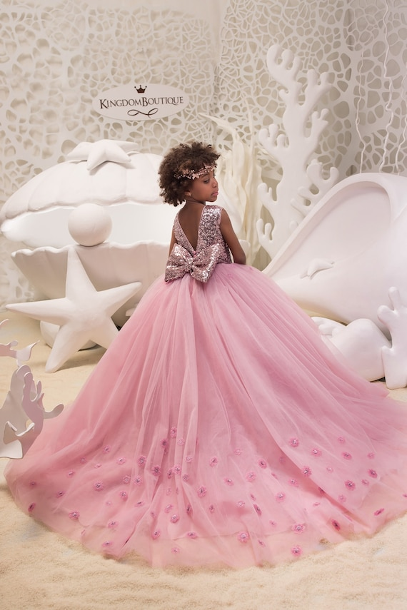Blush pink flower girl dress with sparkling sequins birthday mightylinksfo Image collections