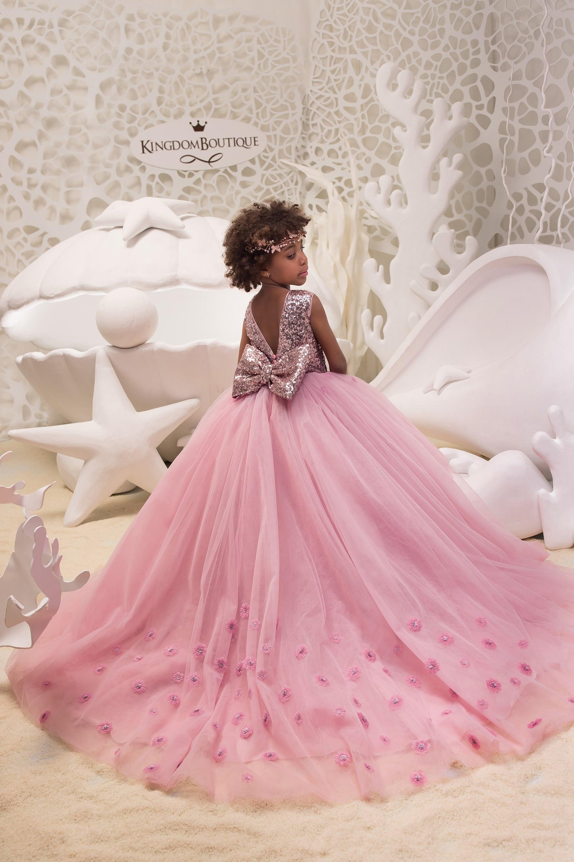 Blush rosa niña vestido de flores con brillantes