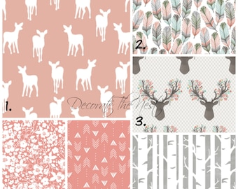 Girl Crib Bedding | Fawn | Customized Crib Bedding | Made to Order | DTN