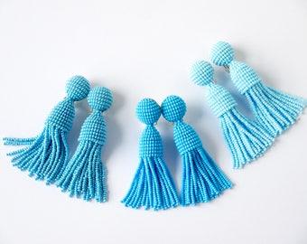 Blue beaded short tassel clip on earrings, Oscar De La Renta style, handmade, 3 inches, enlarged top