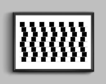 Optical Illusion Poster Print,Scandinavian Wall Art Print,linjer synvilla,Parallel Lines Print,Digital Download,Nordic Lines,Eyesight Trick
