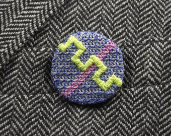 Blue Lime Embroidered Badge