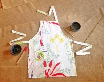 Adult Chef Apron - Garden Print Apron, Cotton Vintage Print