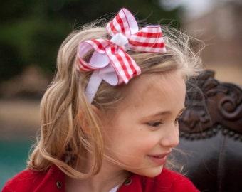 Red & White Gingham Headband - Gingham Hair Bow, Gingham Headband, Red Hair Bow, Red and White Hair Bow, Red Check Hair Bow, Red Gingham