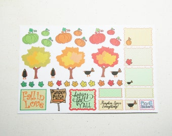 Happy Fall Planner Sticker Set - Pumpkins Crows & Leaves - Functional Planner Scrapbook Stickers - Weekly Autumn Planner Sticker Set