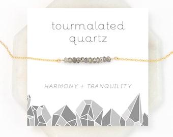 Unique Gemstone Choker, Tourmalated Quartz, Dainty Chain, Tourmalinated Quartz, Celestial Jewelry, Modern Black and White Necklace, Chakra