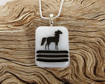 White Fused Glass Pendant - Black Standing Horse Black Decal - Fused Glass Necklace - Glass Horse Jewelry - Handmade Pendant