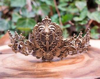 Gold Butterfly Crown- Fairy Crown- Fairy Costume- Fairytale Wedding- Bridal Tiara- Hand Fasting- LARP- Fairytail- Fairy Queen- Gold Crown