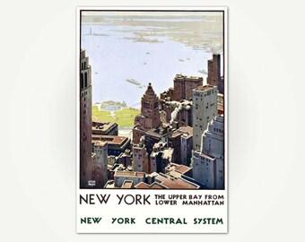 New York Travel Poster - Upper Bay From Lower Manhattan Travel Poster Art  - Vintage New York City Travel Print