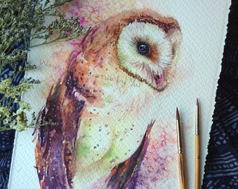 Barn owl- ORIGINAL watercolor painting 7.5x11 inches