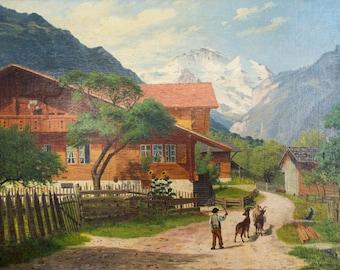 "Vintage Original Signed I Keiser Oil Canvas Painting Agriculture Mountain Landscape 23"" x 16"""