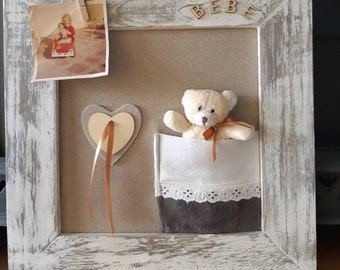 Picture frame baby birthday gift, child's room, Pooh bear