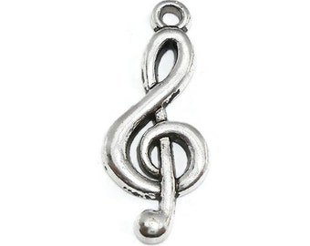 10 Silver Music Charms treble clef charms silver tone (S320-cnt)
