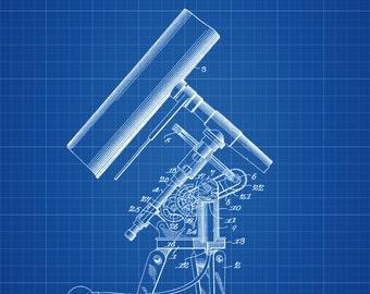 Telescope Patent - Patent Print, Wall Decor, Telescope Decor, Vintage Telescope , Old Telescope, Astronomy