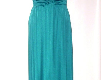 Emerald Green Evening Gown 1970's Polyester Prom Dress Strap Halter Disco