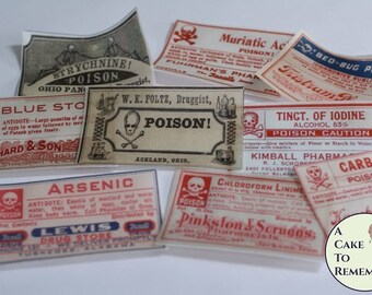 12 vintage Halloween poison bottle labels edible wafer paper for cookies or cupcakes. Printed wafer paper for Halloween cookie decorating.