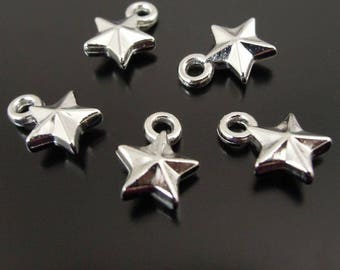 20 charms small star silver colored acrylic 3D