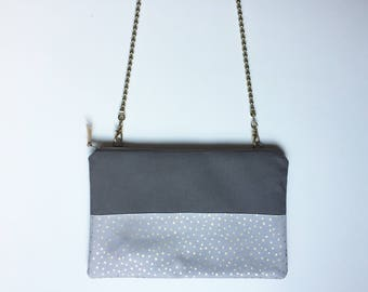 Clutch with detachable chain shoulder strap