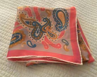 Fab Vintage Square Scarf Pinks Blues Boho Paisley Large Silk Blend 1960s