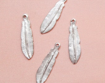 4 charms large 32 mm matte silver metal feathers
