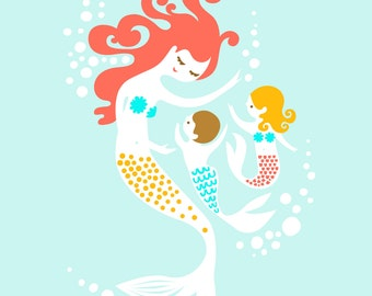 "8X10"" mermaid mother & boy and girl twin children giclee print on fine art paper. sky blue, coral redhead, blonde, brunette"