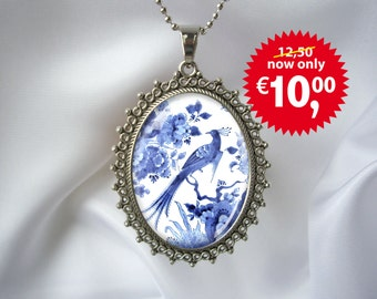 Dutch Delft Blue Peacock Paradise Bird Art Pendant Necklace