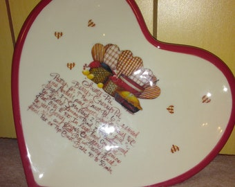 Unique Mary Beth Baxter Heart Plate With 'Sweet Pie Berry-Cherry Pie' Recipe