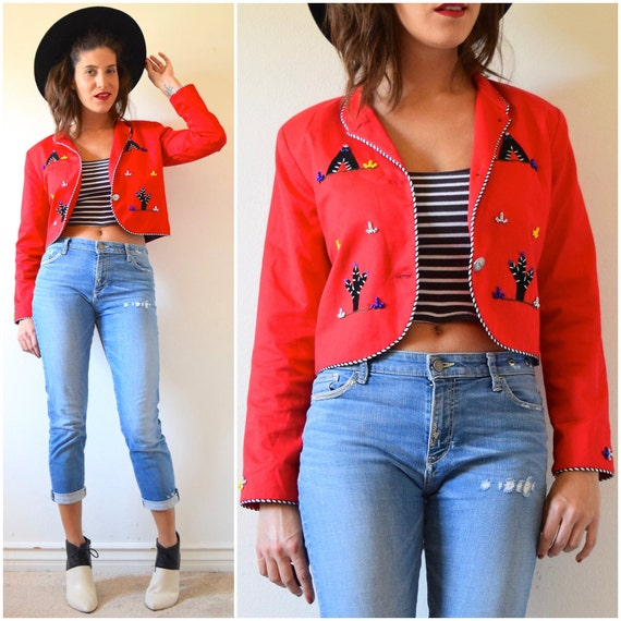 Vintage 80s 90s Red Southwestern Cropped Beaded Blazer with Teepee and Cactus Appliques (size small, medium)