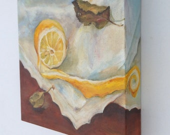 Custom ORIGINAL Oil PAINTING on canvas Still Life Fruits Square Illusionistic painting Hand painted ART Commision New trending of Wall Decor