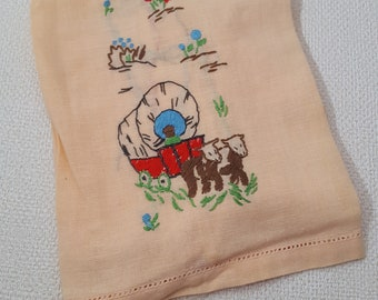 Vintage 1960s Hand Embroidered Fingertip Towel - Covered Wagon Motif