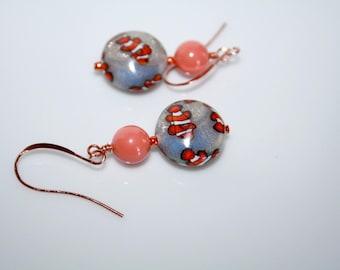 "Lens ""Clownfish"" polymer beads earrings"