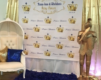 Royal Backdrop, Prince Party, Large Vinyl Backdrop for Baby Shower, Family pictures, Photo Booth Banner, Royal Prince Theme