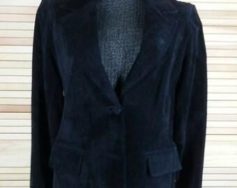 Vintage 90s black suede blazer leather jacket Saks Fifth Avenue size 12 chest 40