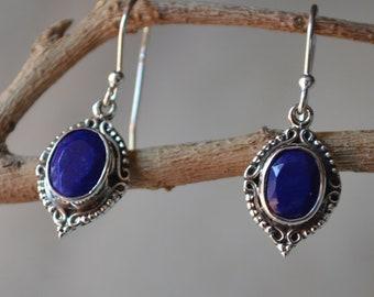 Lapis Lazuli Earrings,925 Sterling Silver Earrings,Blue Lapis Dangle Earrings,Blue Stone Earrings,Beautiful Lapis Lazuli Gorgeous Jewelry