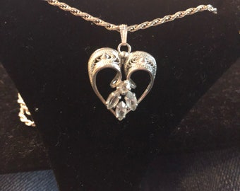 Antique An Lee pendant with silver chain and cz