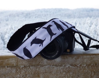 Penguins camera strap. DSLR / SLR Camera Strap. Camera accessories by InTePro
