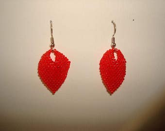 Handcrafted Russian leaf beaded earrings