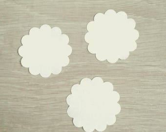Set of 30 labels round - white - diameter 3.5 cm - T4
