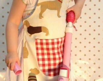 Dog Childrens Apron, childs apron dog, red childs apron, cotton childs apron, baking apron childs, kids cotton apron, dog lovers gift