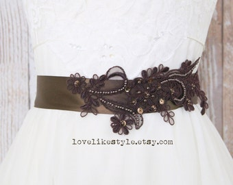 Brown  Beaded  Lace Sash, Bridal Brown Sash, Bridesmaid Brown Sash, Flower Girl Sash  / SH-40