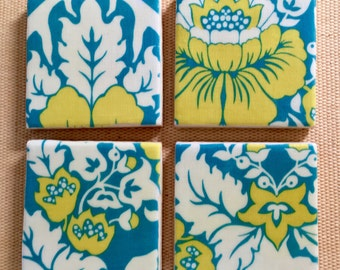 Abstract, Contemporary  Floral Coasters in Aqua, Yellow and White
