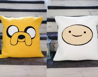 Adventure time jake the dog and finn the human felt cushion cover set of 2