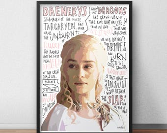 Daenerys Stormborn print / poster hand drawn typography quotes Game of Thrones print / poster