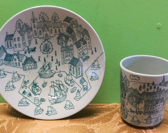Vintage Nymolle Art Faience Hoyrup Made In Denmark Limited Edition 4006 Demitasse Cup and Saucer - Free Shipping