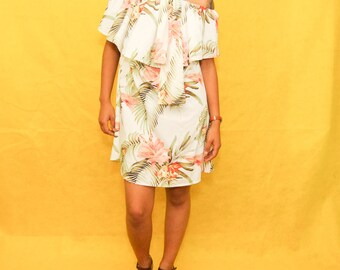 Hawaiian Island Off the Shoulder Floral Print Dress with Ascot