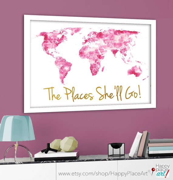 The places shell go world map print pink and gold like this item gumiabroncs Choice Image