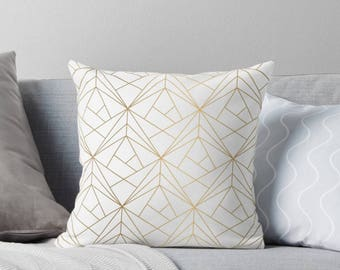Geometric Gold Pattern Pillow Cover, Throw Pillow, Bohemian Throw Pillow, Gold Boho Stripes Pillow, Indoor Pillow, Gold Throw Pillow Cover