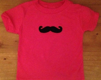 Hot Pink and Black Mustache Embroidered Shirt or Baby Bodysuit