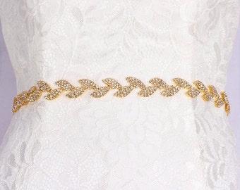 SALE Thin bridal belt Gold leaves bridal belt Crystal Rhinestone belt Bridesmaid belt Gold skinny wedding belt  Gold leaf rhinestone sash