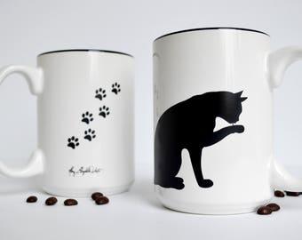 Single Cat Mug - 15 oz Cat and Paw Mug for Cat Lovers, Black Cats, Cat Lover Gift, Mug Gift Set, Black Cat Mug, Coffee Mug, Cat theme gift